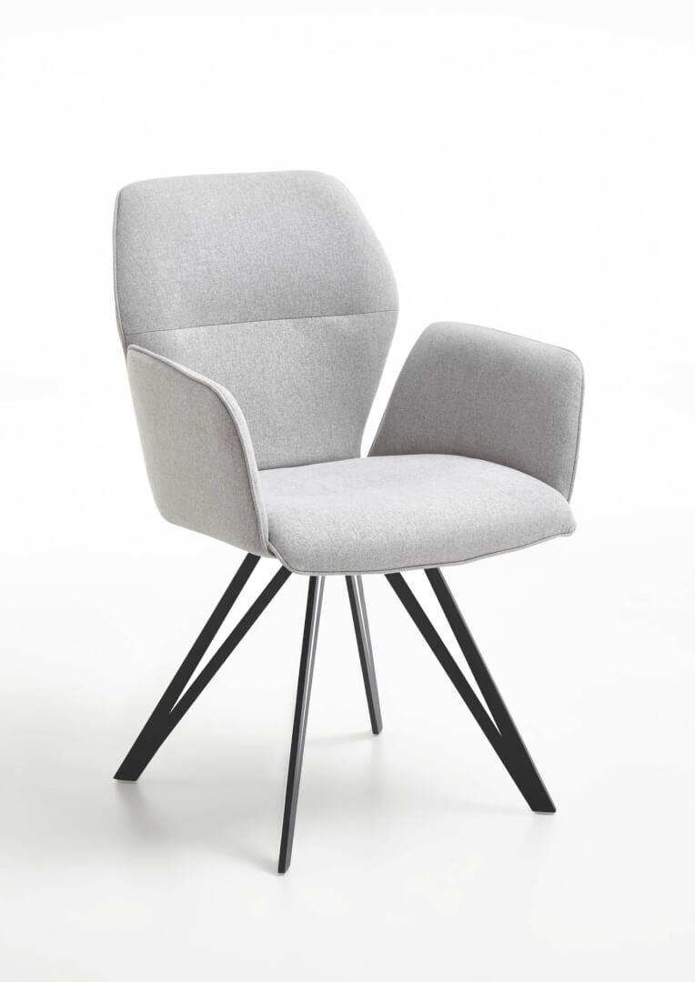 Merlot Design-Armlehnenstuhl mit Flachstahl Gestell