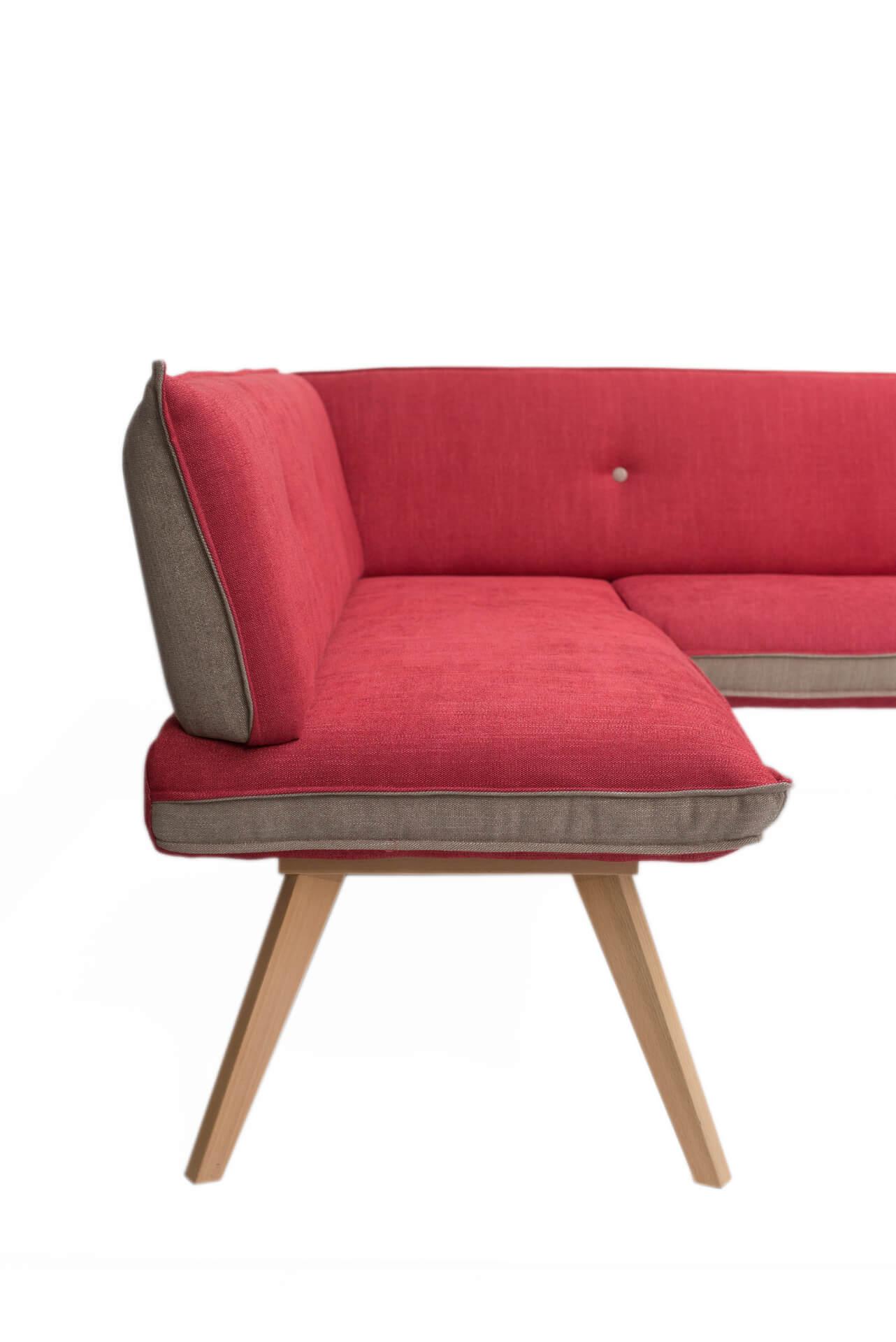 Eckbank - Just Fleckless - Rosso - 180 x 160 cm (kurzer Schenkel rechts)