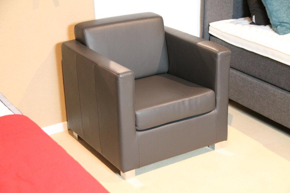 Lido Einzel-Sessel  Echtleder schiefer